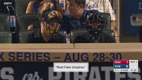 WSH@NYM: Real fake umpires raise money for charities