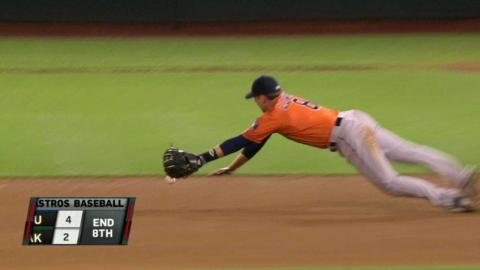 HOU@OAK: Lowrie dives to snag sharp grounder to third