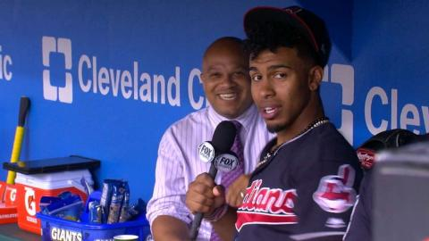 CWS@CLE: Lindor grabs the mic, has fun prior to game