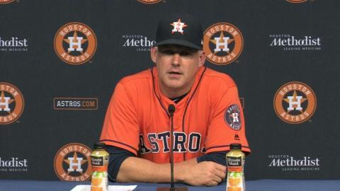 OAK@HOU: Hinch discusses Keuchel's start, Astros' win