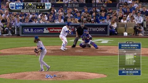 NYM@LAD Gm5: deGrom K's Grandal, keeps game tied