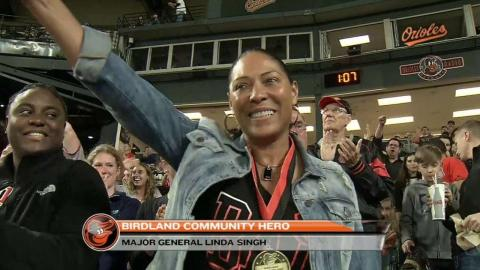 BOS@BAL: Orioles honor Major General Linda Singh