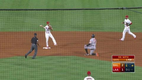 BAL@LAA: Simmons turns a double play in the 6th