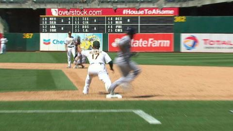 CLE@OAK: Athletics turn double play, call stands