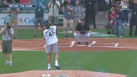 MIN@CWS: Valentine throws out the first pitch