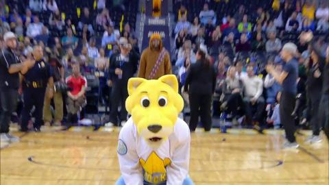 Rocky the Mountain Lion Hits A Backwards Half Court Shot