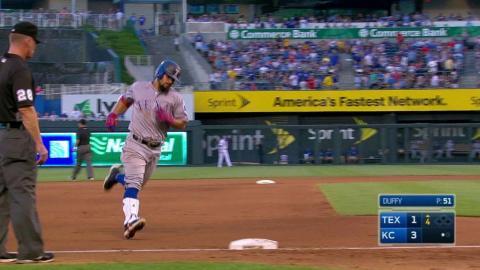 TEX@KC: Odor launches a solo home run off Duffy
