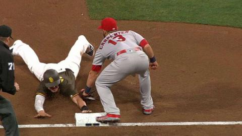 STL@SD: Myers steals third in 7th, call confirmed