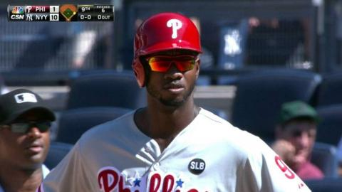 PHI@NYY: Brown singles in the Phillies' first run