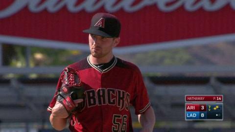 ARI@LAD: Hathaway records first MLB strikeout