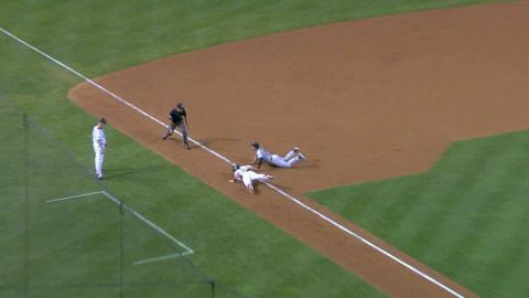 COL@ARI: Arenado catches a liner, doubles off Ahmed
