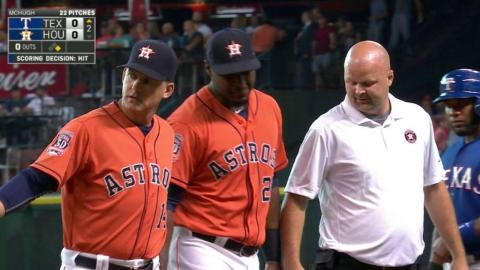 TEX@HOU: Carter leaves the game after awkward landing