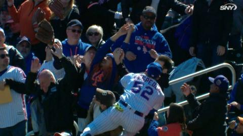 MIA@NYM: Cespedes shaken up after jumping into stands
