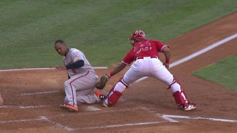 BAL@LAA: Trout starts the relay to nab Schoop at home