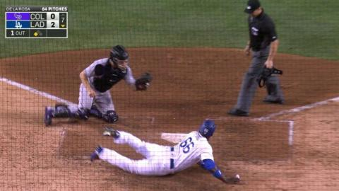 COL@LAD: Barnes makes catch, nails Puig at the plate