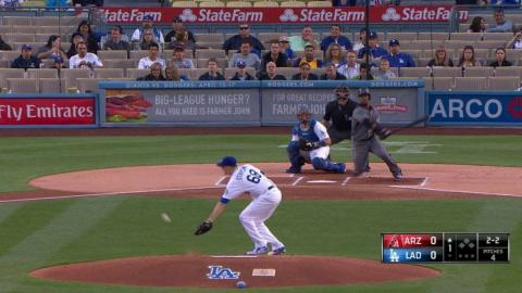 ARI@LAD: Stripling allows his first career hit