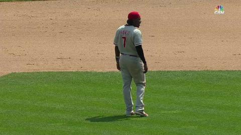 PHI@DET: Franco leaves game after awkward slide
