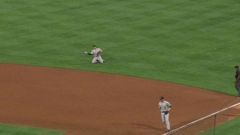 COL@SD: Wolters corrals sharp grounder, gets the out