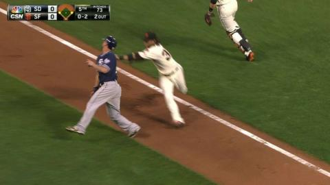 SD@SF: Giants catch Alonso in rundown to end inning
