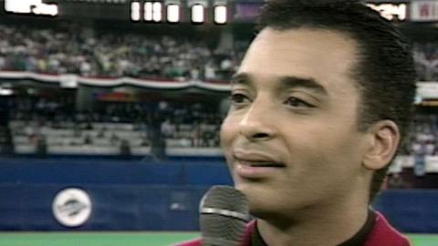 1992WS Gm3: Jon Secada performs the national anthem