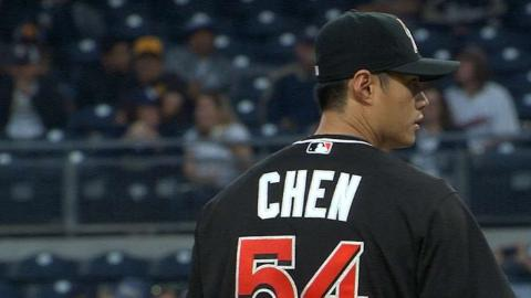 MIA@SD: Chen whiffs seven batters in six innings