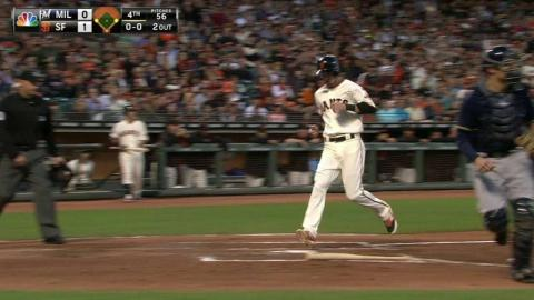 MIL@SF: Belt hits a sacrifice fly to open the scoring