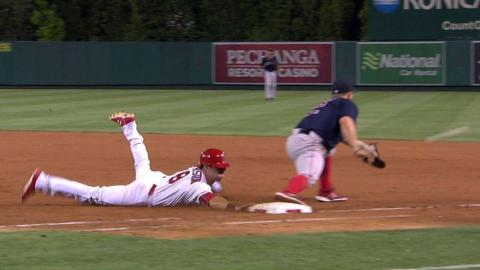 BOS@LAA: Featherston safe at first, call confirmed