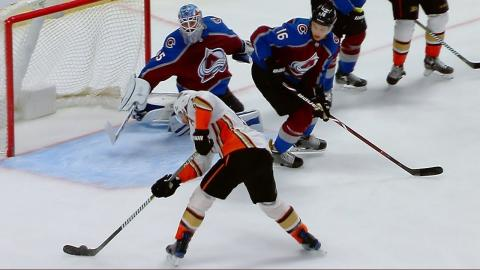 Jonathan Bernier's incredible stick save leads to Nathan MacKinnon's goal