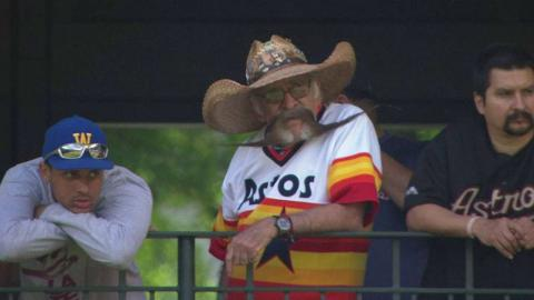 BOS@HOU: Astros fan takes mustache to the next level