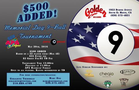 Golden Cue Memorial Day 9-Ball!
