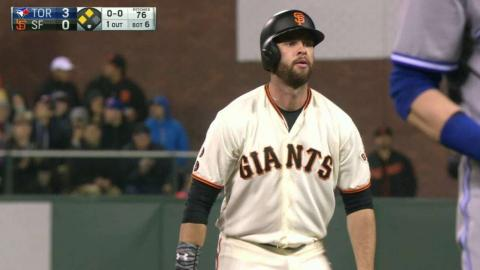 TOR@SF: Belt doubles after Saunders misplays the ball