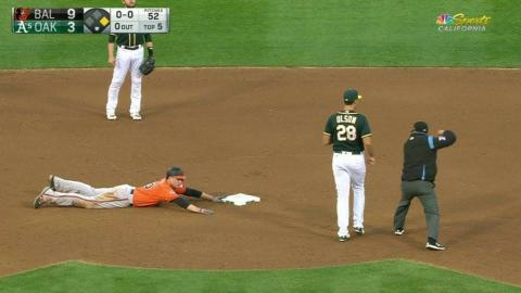 BAL@OAK: Powell fires a strong throw to nab Trumbo