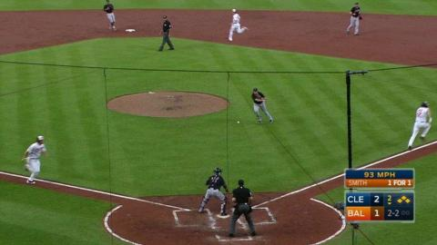 CLE@BAL: Indians turn a 1-2-3 double play
