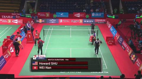TOTAL BWF World Championships 2015 | Badminton Day 1 R64 M2-MS | Shu vs Wei