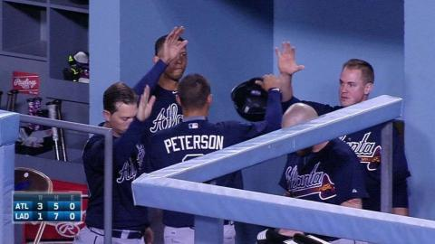 ATL@LAD: Markakis clubs RBI ground-rule double