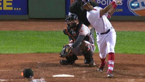BAL@BOS: Young hammers a solo jack to left field