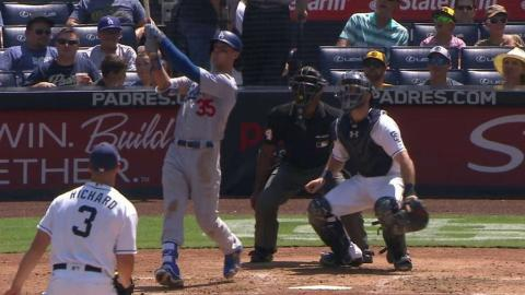 LAD@SD: Bellinger ties Piazza for team rookie record