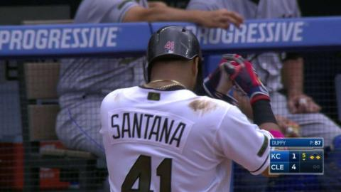 KC@CLE: Santana pokes an RBI single into center field