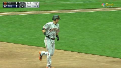 SF@MIL: Panik drills a solo home run to right