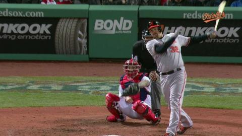 BAL@BOS: Wieters extends lead with a two-run single