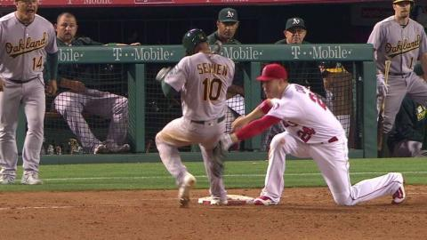 OAK@LAA: Angels throw out Semien, call stands