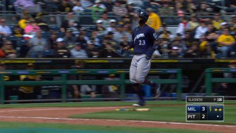 MIL@PIT: Aguilar plates run with a ground-rule double