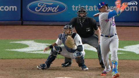 NYM@NYY: Cespedes injured on awkward swing
