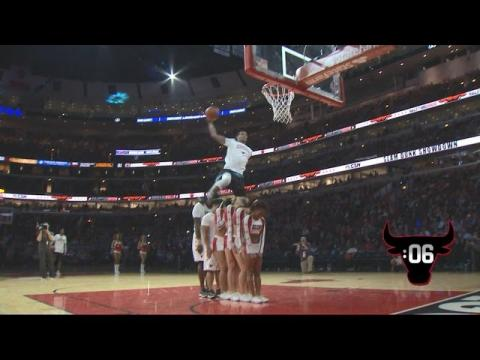 Awesome Dunk Over 6 People! | Bulls Dunk Contest with Guy Dupuy, C.J. Champion | 01.09.17