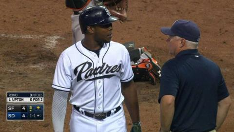 SF@SD: Upton is shaken up after a swing