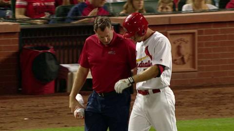 SF@STL: Piscotty hit by a pitch, remains in the game