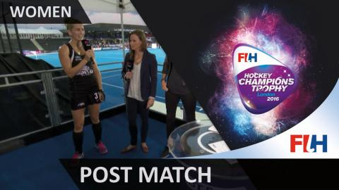 Goalscorer Stacey Michelsen talks through her side's win over Great Britain #HCT2016
